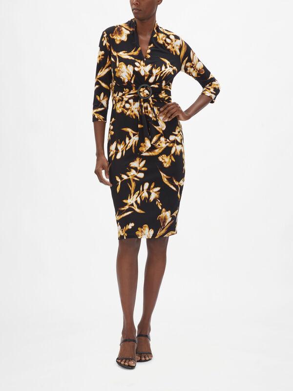 Orchid print Gath Detail Dress
