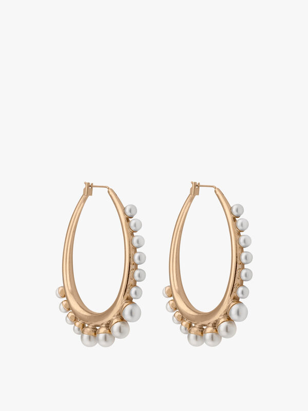 Medium Oval Earrings With Pearls