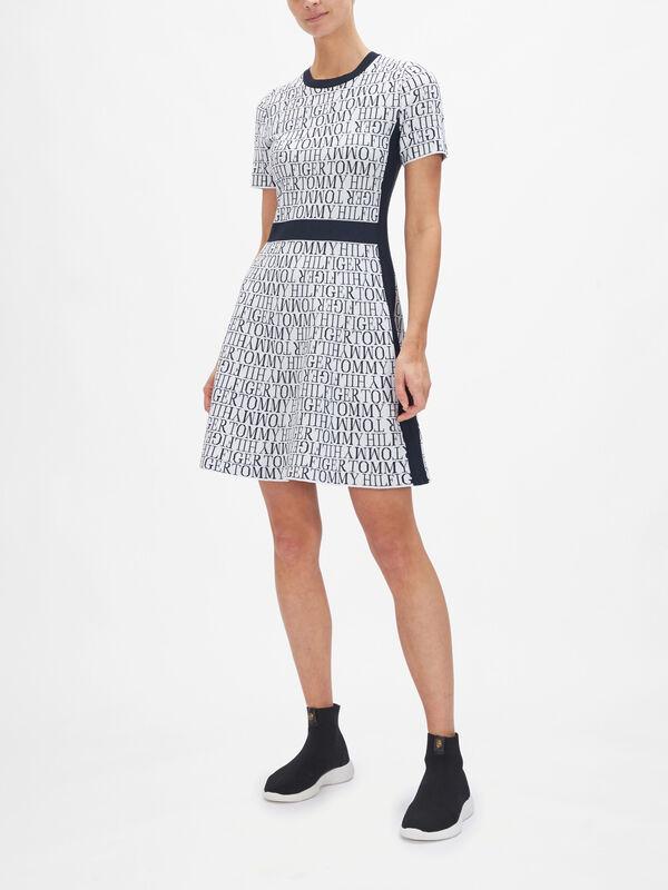Nessy Script Crew Neck Short Sleeve Dress