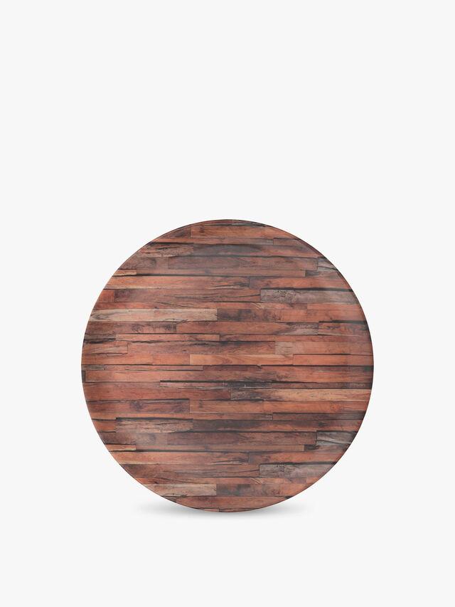 Wood Cabin Round Matte Tray