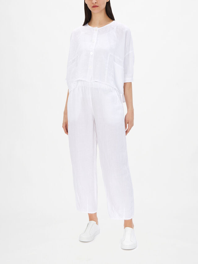 Collarless Box Fit Cropped Check Linen Jacket