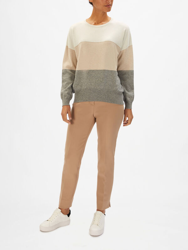 Colour Block Lurex Crew Neck Knit