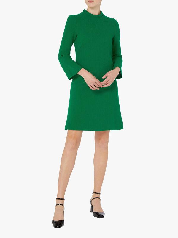 Scallop Yoke Wool Crepe Shift Dress