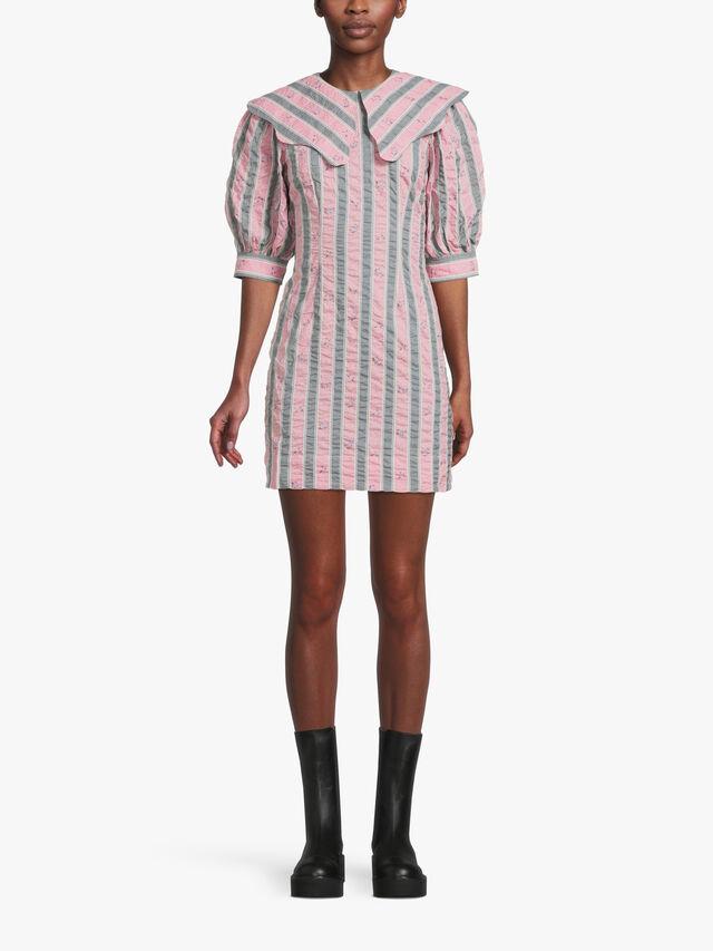 Striped Wide Collar Seersucker Dress
