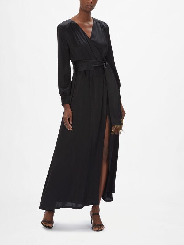 Demetra Wrap Dress With Feather Trim