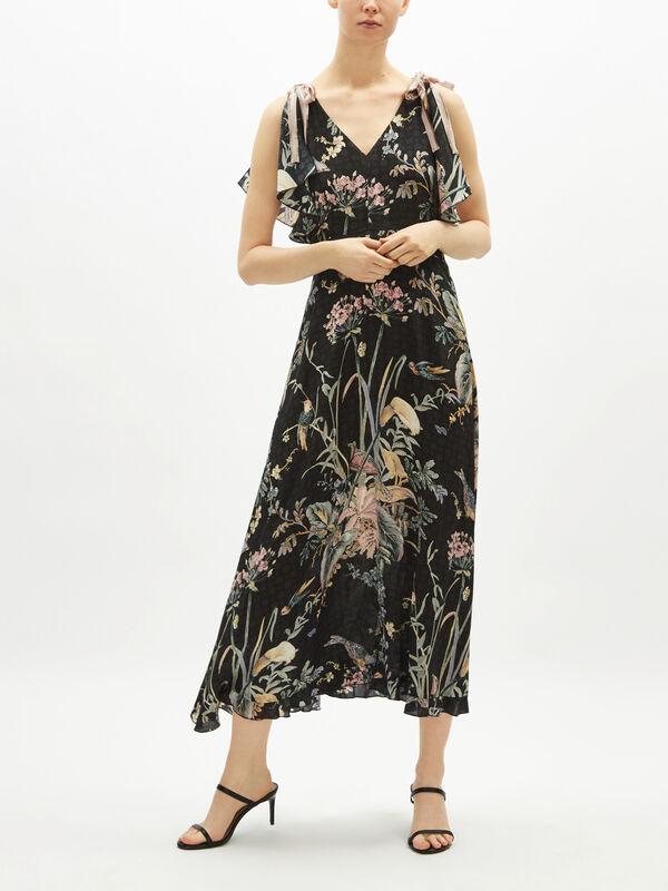 V Neck Long Floral Dress