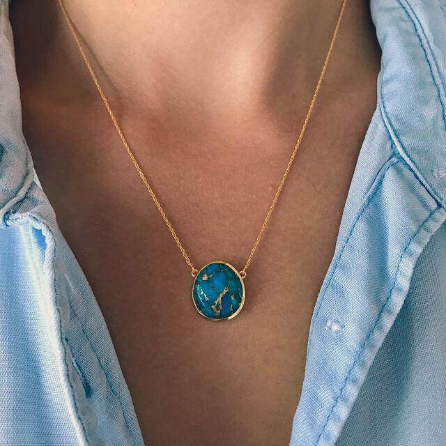 Semi Precious Statement Stone Pendant Necklace