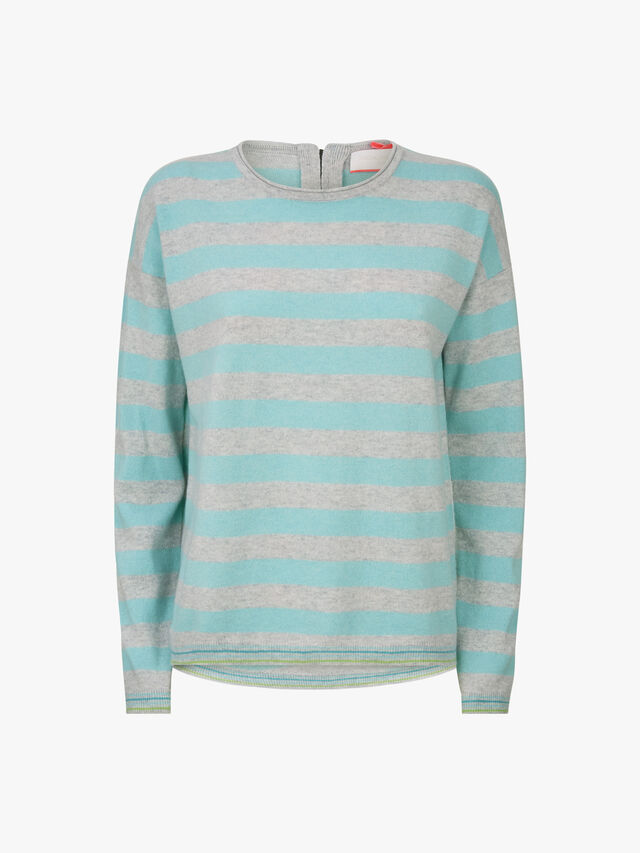 Wide Stripe Zip Back Crew Neck Knit