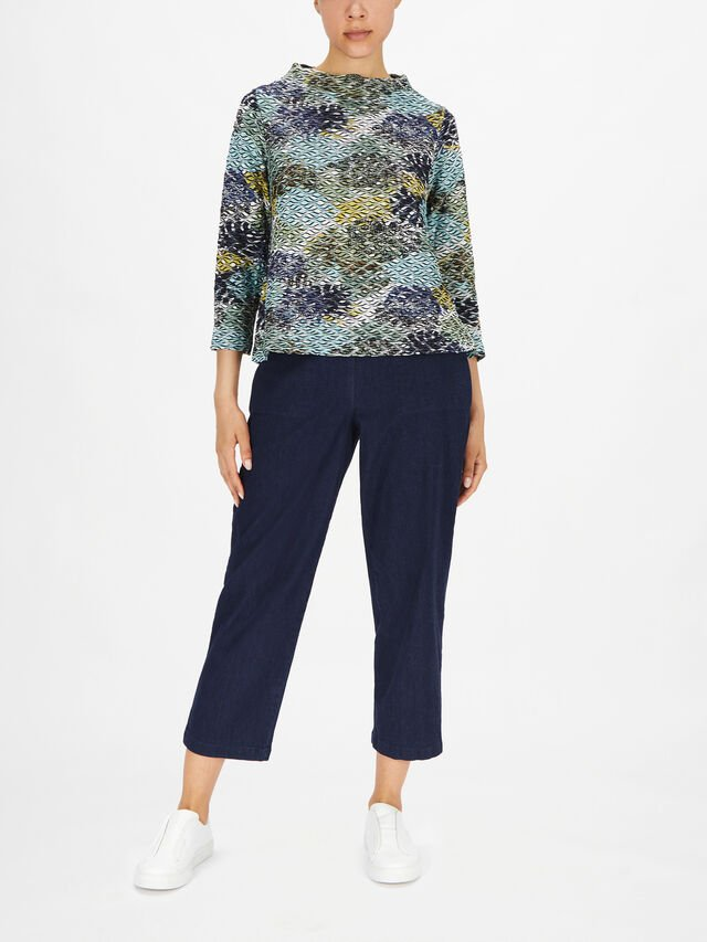 Ripple Jersey Funnel Neck Top