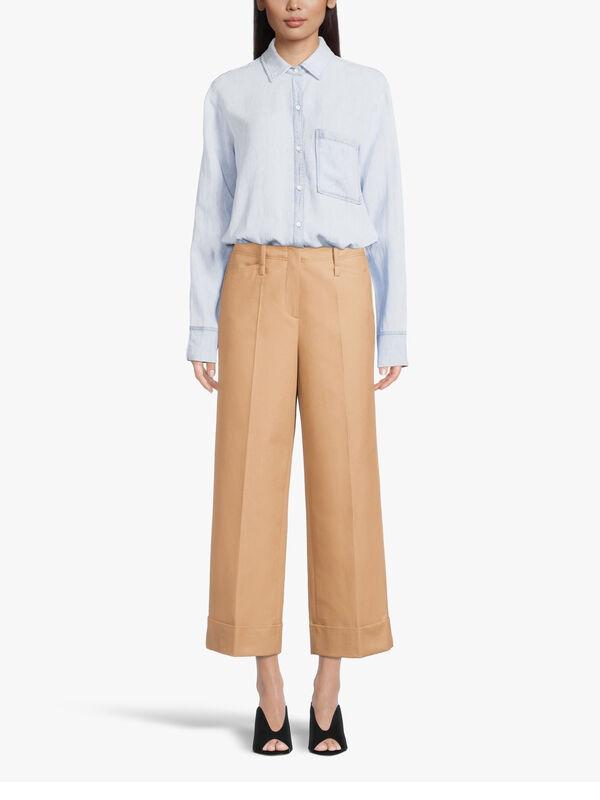 Wide Leg Gabardine Trouser