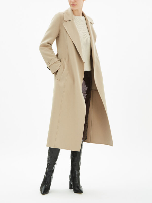 Aris Wool Coat With Tie Belt
