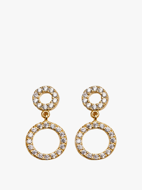 Double Open Circle Drop Earrings