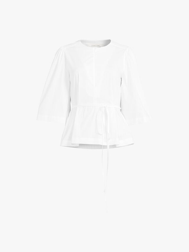 Cropped Wide Sleeve Cotton Top With Waist Tie