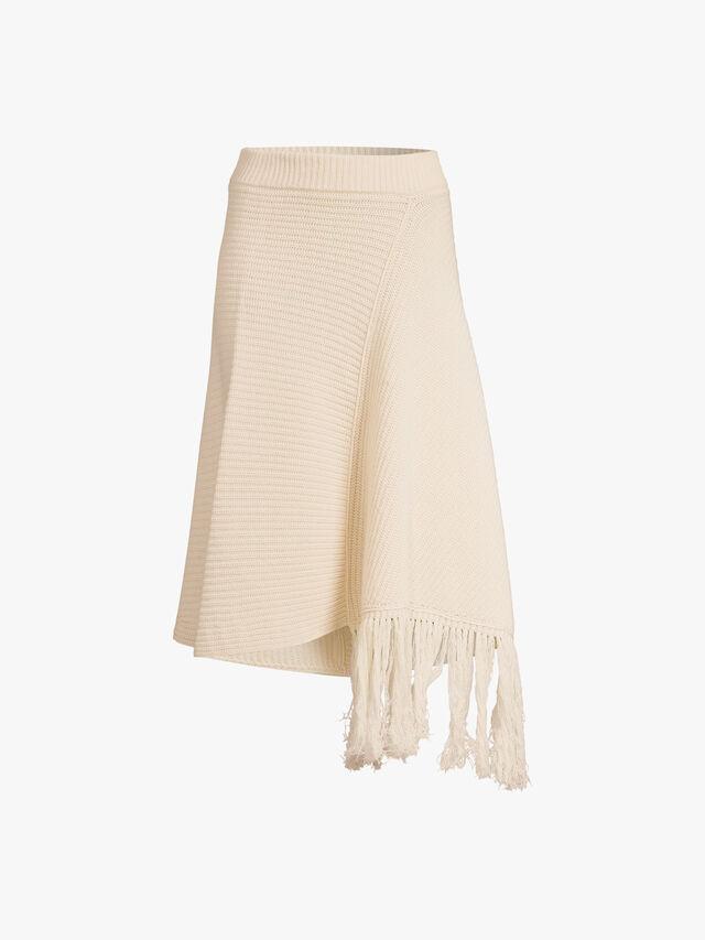 Knit Fringe Asymmetric Hem Skirt