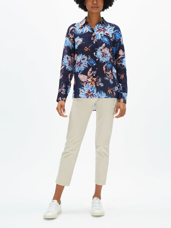 Marine Paisley Cotton/Silk Shirt