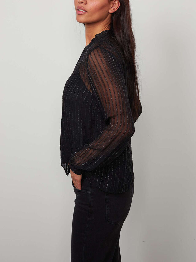 Lurex Striped Chiffon Blouse