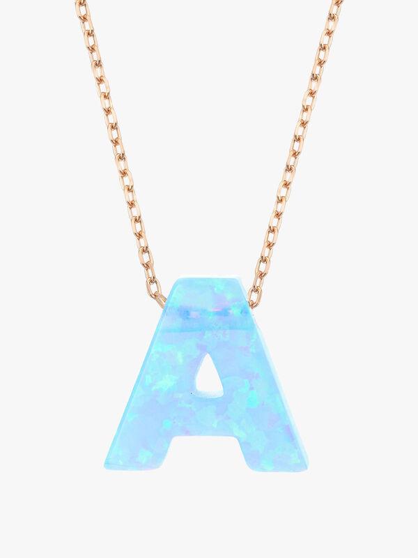 Rose-Gold Opal Letter Necklace
