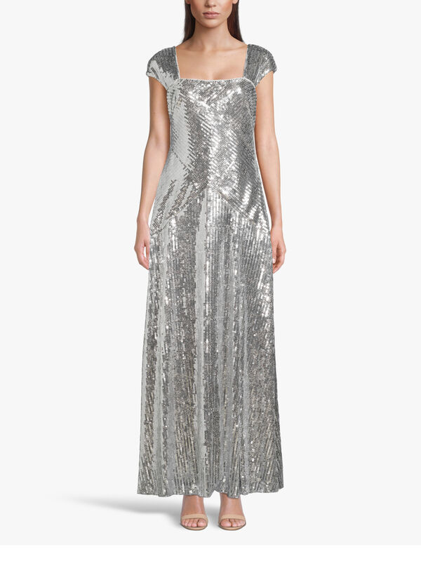 Jeni Foil Detail Evening Gown