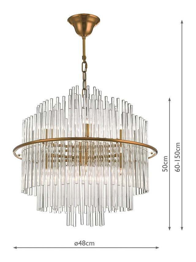 Lukas 13lt Pendant Brushed Ant Gld/Clear