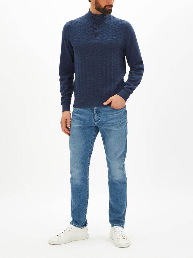 Textured Button Collar Sweater