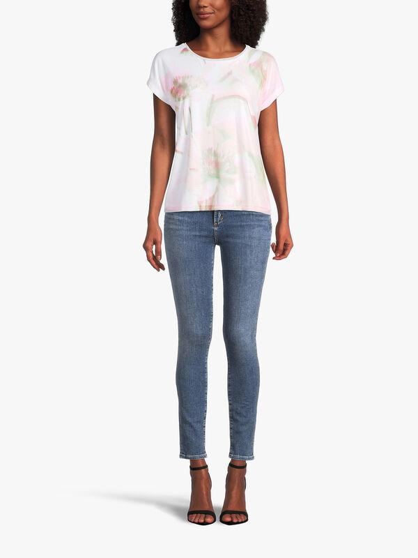 Abstract Flower Print Drop Shoulder T Shirt