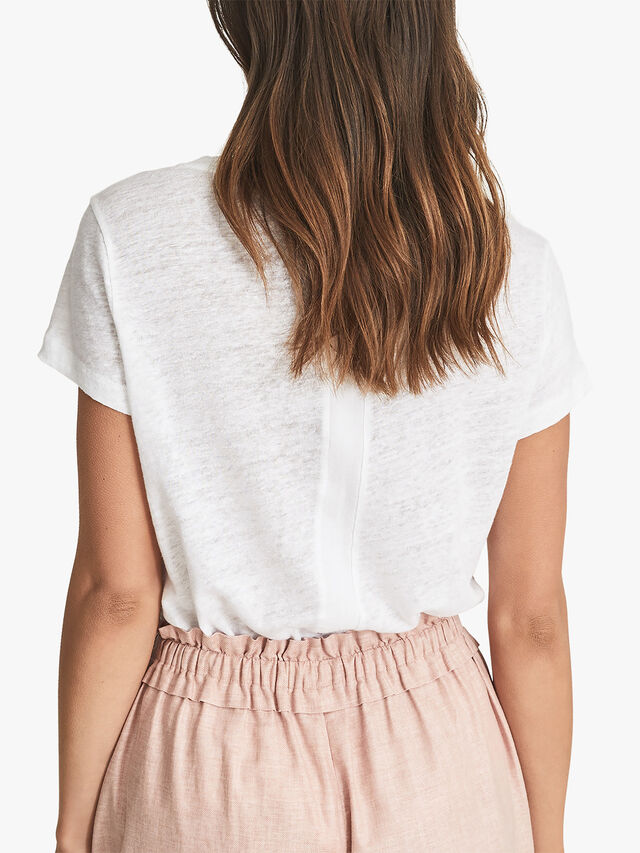 Lottie Linen-Jersey V-Neck T-Shirt