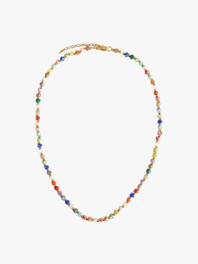 Gold Mix Imperial Jasper Beaded Short Necklace