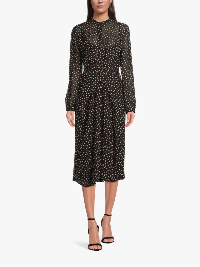 Collarless Wrap Shirt Dress