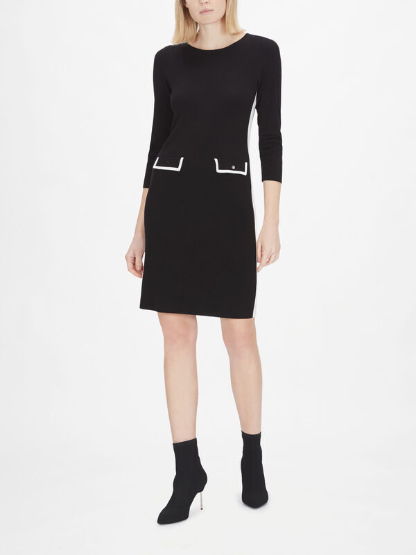 3/4 Sleeve Shift Dress with Front Pockets