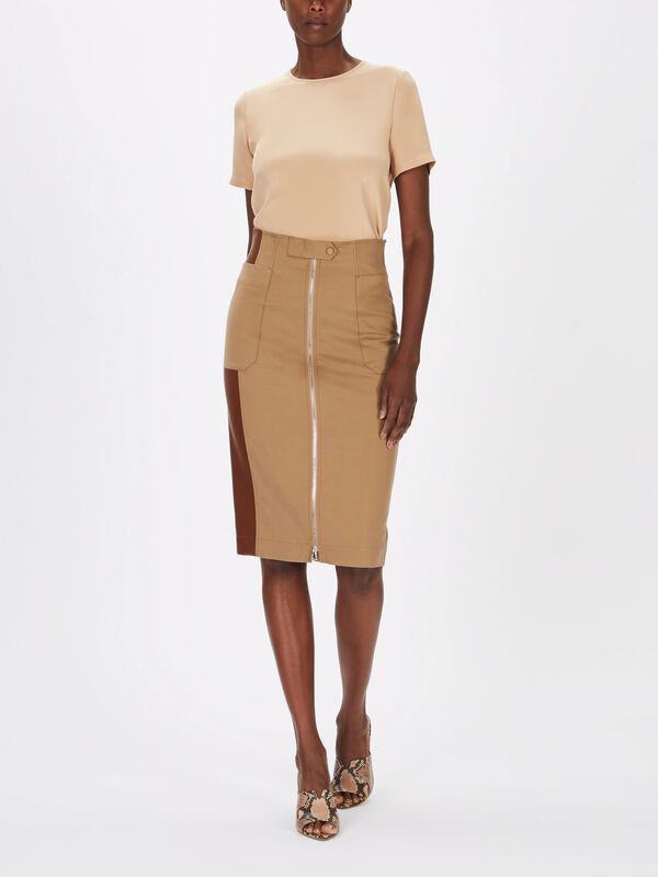 Jerez Leather Panel Zip Skirt