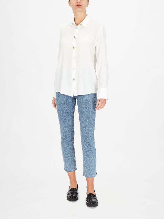 Long Sleeve Relaxed Shirt With Contrast Collar