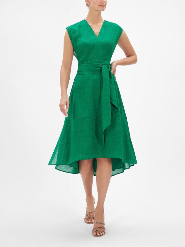 V Neck A Line Dress with Tie Waist