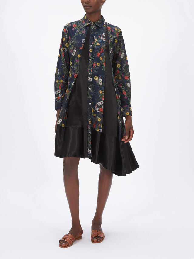 Floral Paneled Shirt Dress