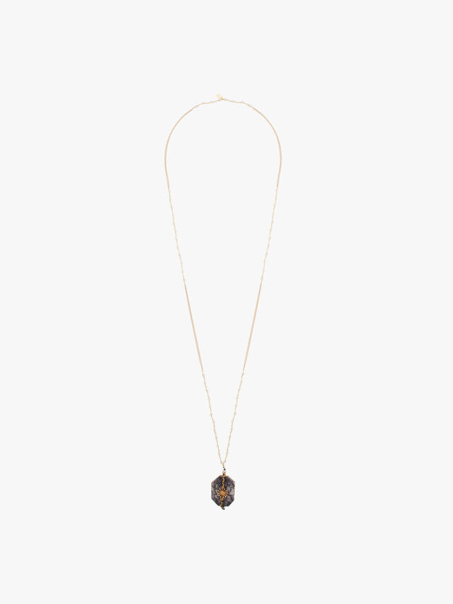 Long Moonstone Dendrite Stone Necklace
