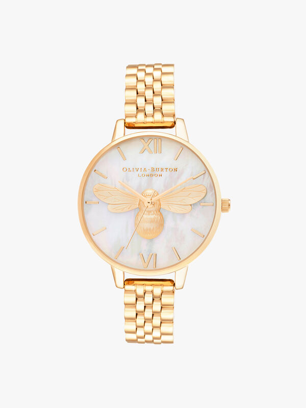 Lucky Bee Mop Demi Dial Gold Bracelet Watch