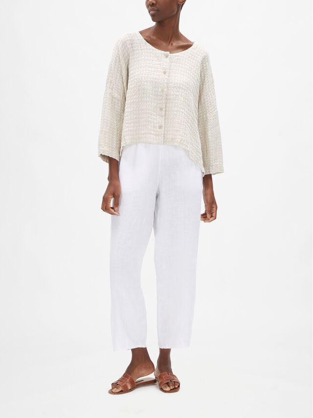 Textured Linen Relaxed Fit Jacket