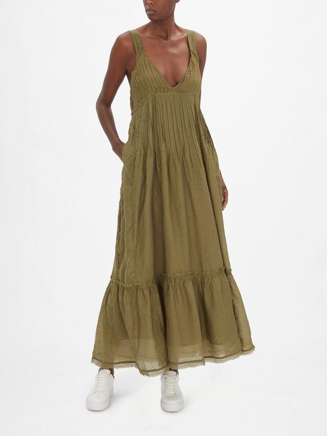 Frankie Pintuck Sleeveless Maxi Dress