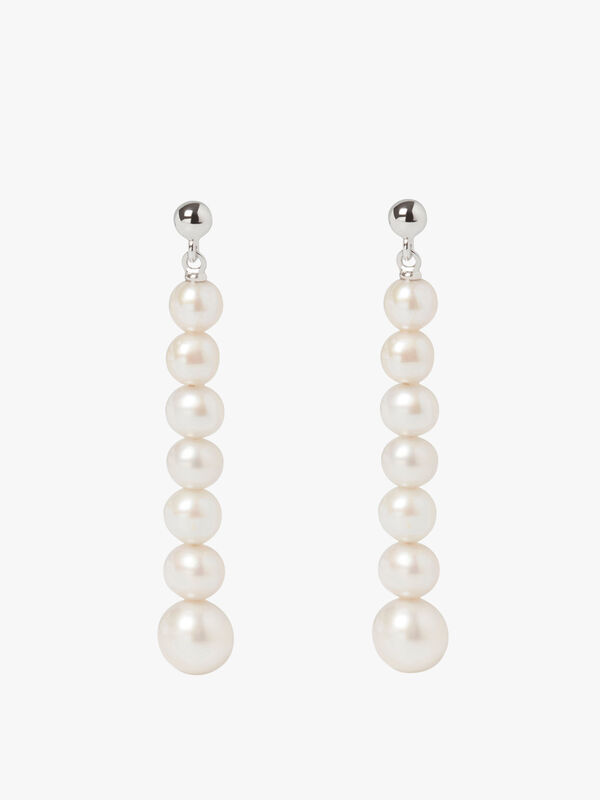 Stellar Multi Drop White Pearl Earrings