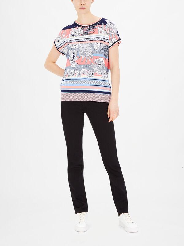 Drop Shoulder Leaf Print T Shirt