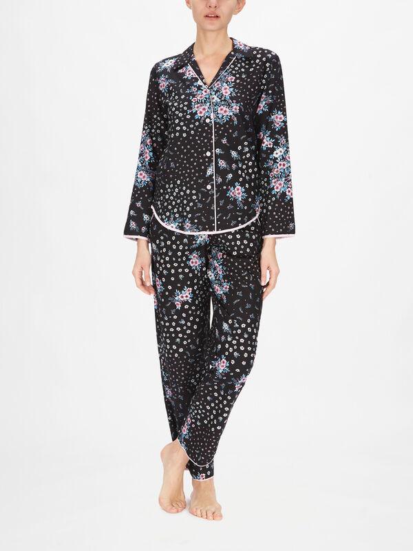 Hannah Black Ditsy Floral Print Pyjama Top