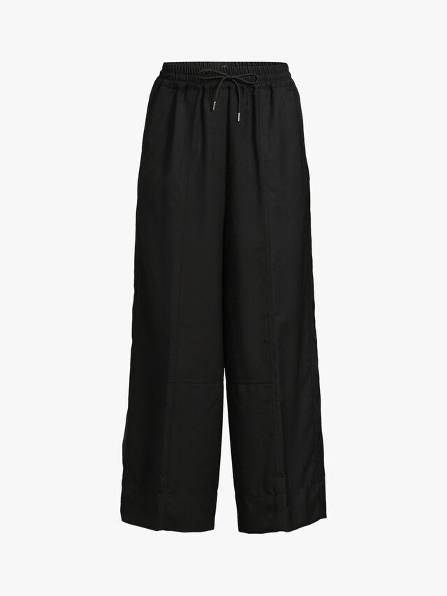 Drawstring Waist Wide Leg Wool Trouser