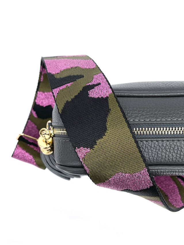 Dark Grey Leather Bag with Pink Camo Strap