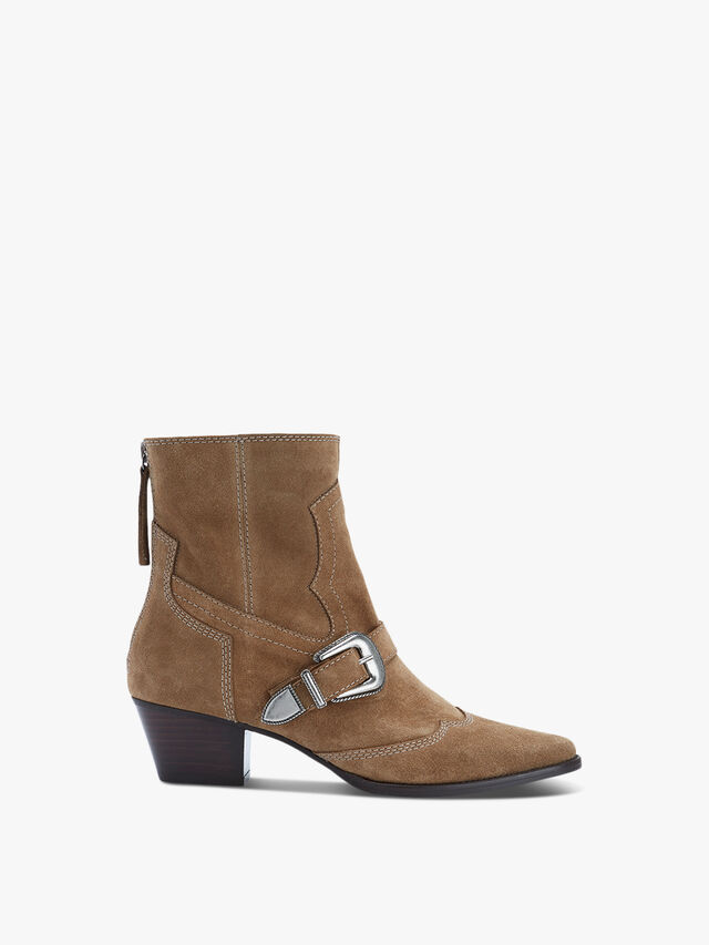Anisa Brown Suede Cowboy Boots