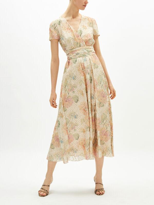 V Neck Pleated Floral Dress