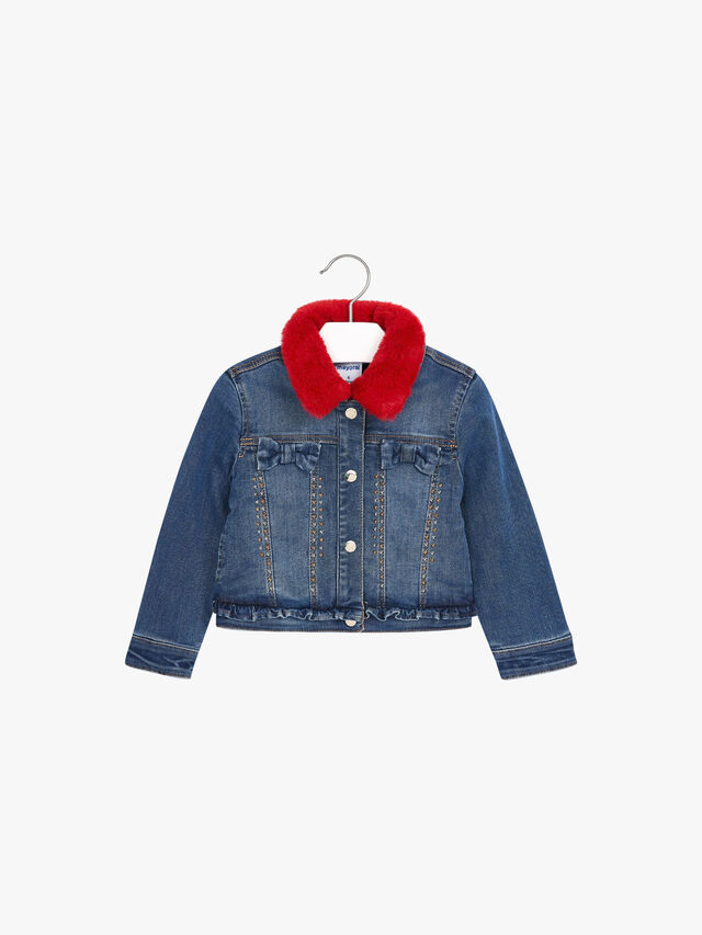 Denim Jacket With Faux Fur Collar