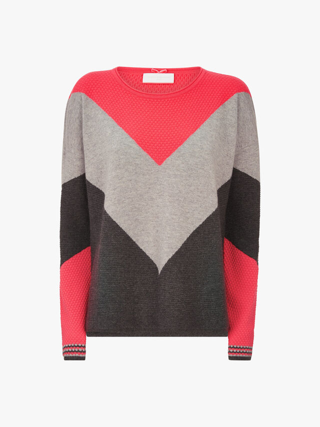 Crew Neck Diamond Colour Block Knit