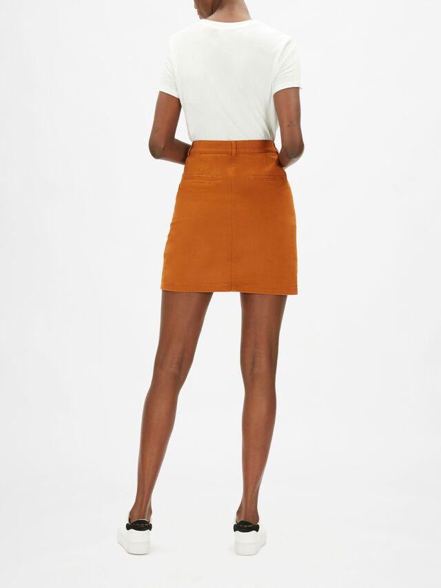 Woven Mini Skirt with Front Pockets
