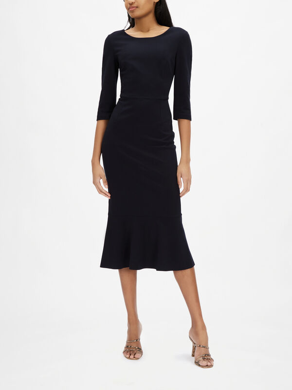 Jersey Flute Detail 3/4 Sleeve Pencil Dress