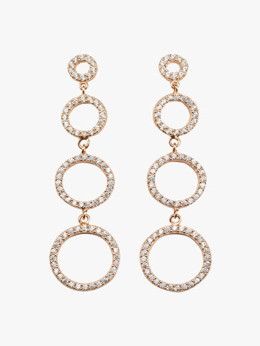 Triple Open Circle Drop Earrings
