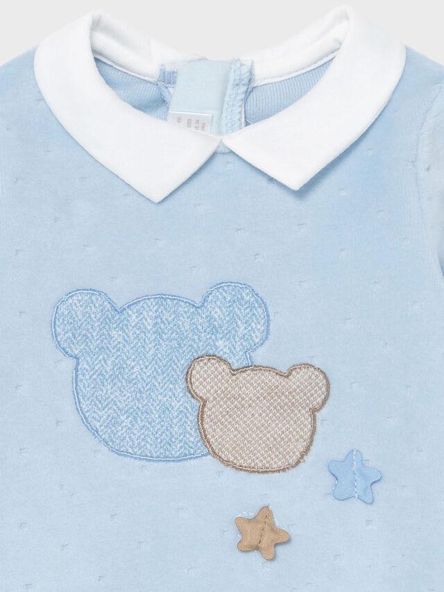 Velour Teddy Applique Babygrow